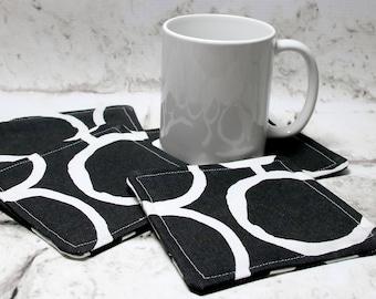 Black and White Circle Design Coaster Set, Set of 4