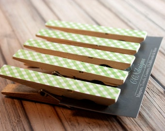 Green Gingham Clothespin Magnets, Set of 5
