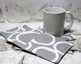 Gray and White Circle Design Coasters, Set of 4