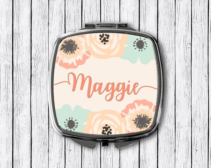 Featured listing image: Floral Name Mirror, Personalized Compact, Custom Mirror