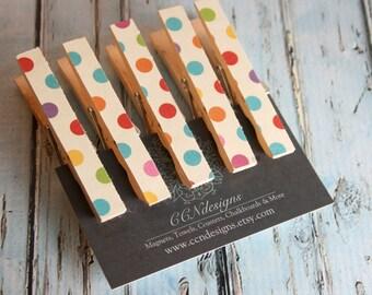 Polka Dot Clothespin Magnets, Set of 5