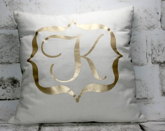 Monogrammed Pillow Cover, Initial Pillow Cover, 16x16
