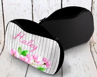 Personalized Makeup Bag, Custom Name Cosmetic Bag, Pink Makeup Bag