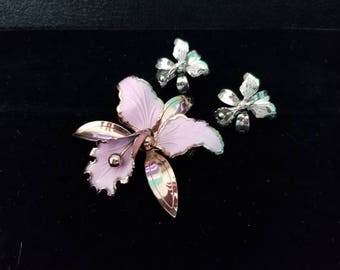 Vintage Orchid Brooch and Earrings