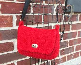 Hand knitted and felted red crossbody handbag