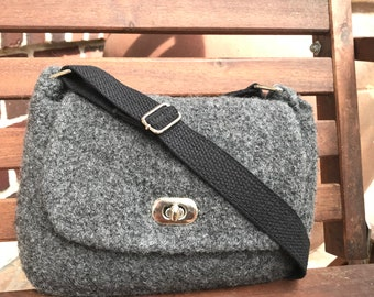 Hand knitted and felted grey small Messenger bag