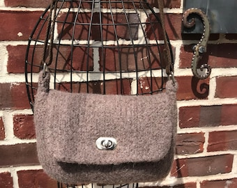 Hand knitted and felted taupe small messenger bag