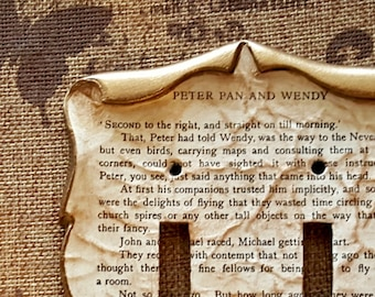 Peter Pan and Wendy Decoupage Library Book Switch Plate Outlet Cover