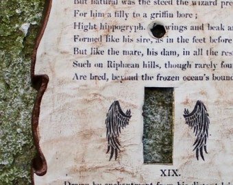 Hippogriff / Hippogryph Decoupage Library Book Switch Plate Cover