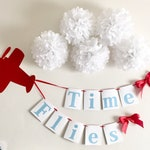 Airplane Time Flies Garland Banner, First Birthday, Baby Shower, It's a boy, Backdrop, Wall Decor, Personalize Custom Name Party Decoration