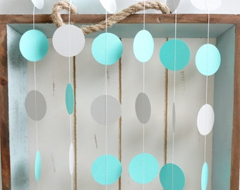 Turquoise and Grey 12 ft Circle Paper Garland- Wedding, Birthday, Bridal Shower, Baby Shower, Party Decorations