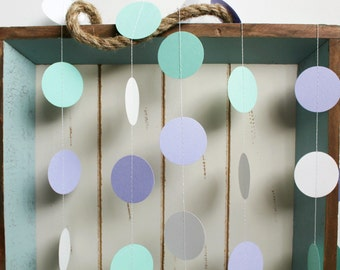 Mint Green, Purple Lavender and White 12 ft Circle Paper Garland- Wedding, Birthday, Bridal Shower, Baby Shower, Party Decorations