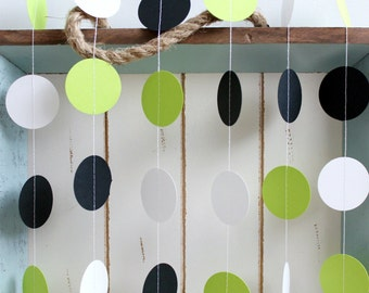 Black, White, Lime Green 12 ft Circle Paper Garland- Wedding, Birthday, Bridal Shower, Baby Shower, Party Decorations