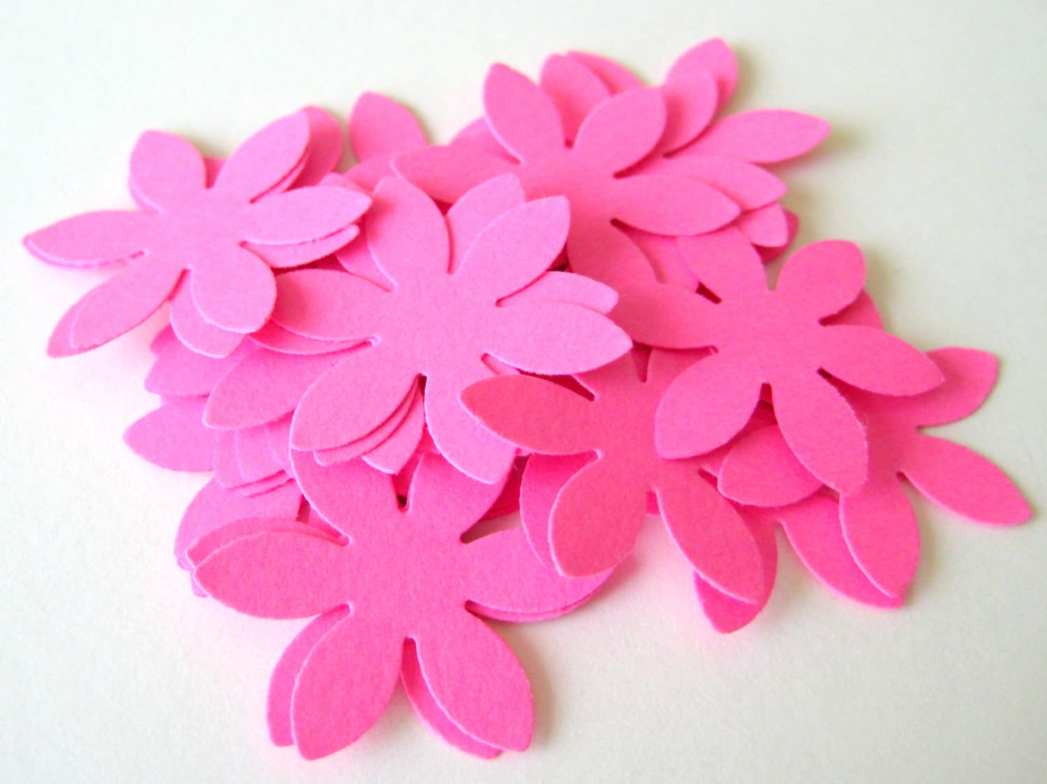 50 Hot Pink Flower Die Cuts Punches Cardstock 1 Inch Etsy
