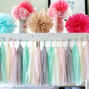 Pink And Mint Green Baby Shower Decorations  from i.etsystatic.com