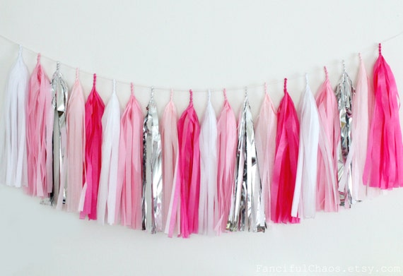 Hot Pink Light Pink White And Silver Tissue Paper Tassel Etsy