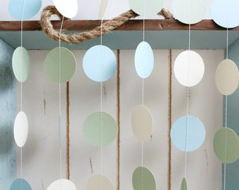 Light Sage, Light Blue, Cream  12 ft Circle Paper Garland- Wedding, Birthday, Bridal Shower, Baby Shower, Party Decorations