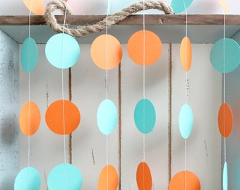 Turquoise and Orange 12 ft Circle Paper Garland- Wedding, Birthday, Bridal Shower, Baby Shower, Party Decorations