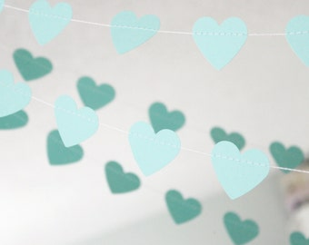 Mint Green 10 ft Heart Paper Garland- Wedding, Birthday, Bridal Shower, Baby Shower, Party Decorations, Valentine's Day