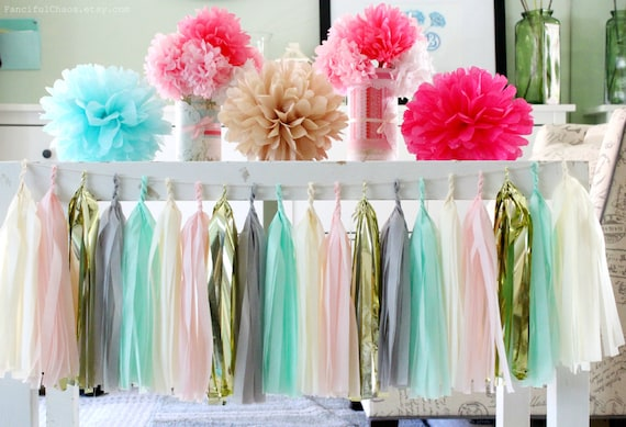 Blue Gray Gold Paper Tassel Garland Birthday Party Baby Shower Nursery Decoration