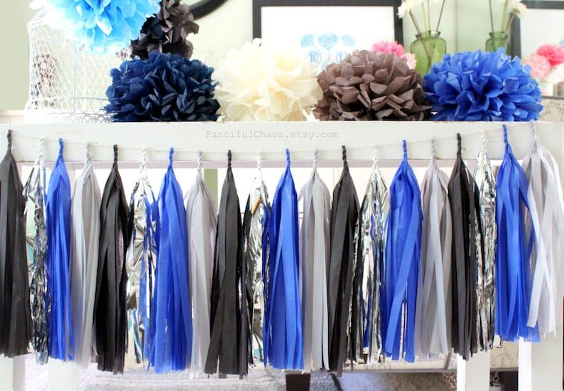 Royal Blue Grey Black Silver Tissue Paper Tassel Garland Etsy
