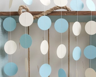 Light Blue and Ivory 12 ft Circle Paper Garland- Wedding, Birthday, Bridal Shower, Baby Shower, Party Decorations