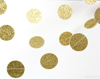 Gold Glitter 10 ft Circle Paper Garland- Wedding, Birthday, Bridal Shower, Baby Shower, Party Decorations, Christmas, Happy New Year