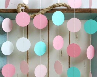 Turquoise, White, Pink 12 ft Circle Paper Garland- Wedding, Birthday, Bridal Shower, Baby Shower, Party Decorations