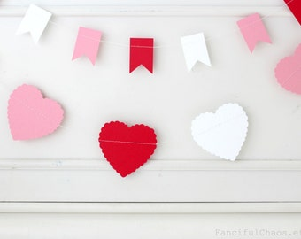Red, White, Pink 10 ft Scallop Heart Paper Garland- Wedding, Birthday, Bridal Shower, Baby Shower, Party Decorations, Valentine's Day