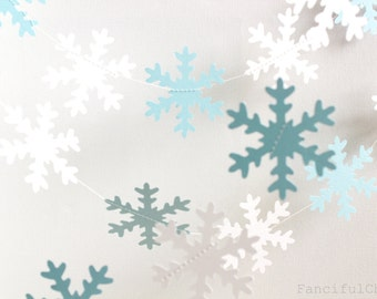 Winter Blue & White Snowflake Paper Garland- Wedding, Birthday, Bridal Shower, Baby Shower, Party Decorations Christmas Holiday