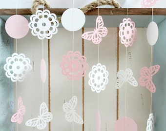 Pink and White Butterfly Doily 10 ft Paper Garland- Wedding, Birthday, Bridal Shower, Baby Shower, Party Decorations, Garden Party