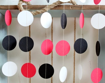 Red, White and Black 12 ft Circle Paper Garland- Wedding, Birthday, Bridal Shower, Baby Shower, Party Decorations