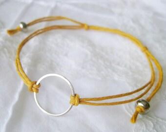 Karma Circle eternity infinity Unity Bracelet - Mustard Yellow