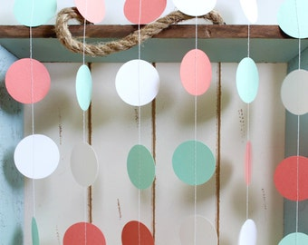 Mint Green, Dark Coral, White 12 ft Circle Paper Garland- Wedding, Birthday, Bridal Shower, Baby Shower, Party Decorations