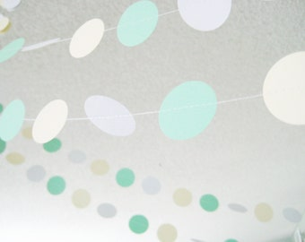 Mint Green, Cream and White 12 ft Circle Paper Garland- Wedding, Birthday, Bridal Shower, Baby Shower, Party Decorations