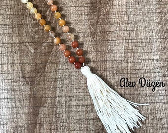 Brown Beaded Statement Necklace, Gemstone Tassel Necklace, Hand Knotted Necklace, Boho Chic Necklace, Gemstone Necklace, tassel necklace