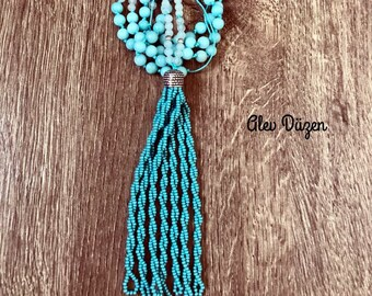 Aqua Beaded Statement Necklace, Gemstone Tassel Necklace, Hand Knotted Necklace, Boho Chic Necklace, Gemstone Necklace, tassel necklace