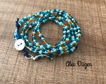 Orange Blue  Multi Strand Bracelet or Necklace - Wrap bracelet - long necklace and strand bracelet - boho necklace