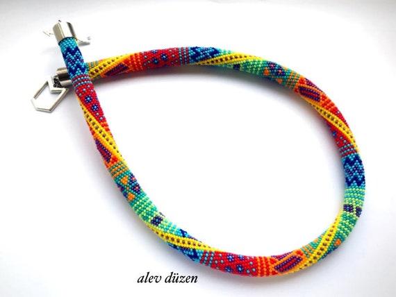 Perle Häkeln Halskette Rocailles Perlen Kette Mode Etsy