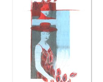 "Woman with Flower - ART Print 8 x 10"""