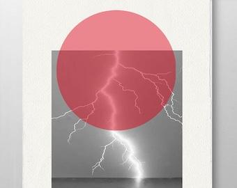Summer Lightning -Minimal Art Mid Century art Wall Art, Poster - Rococco-LA print