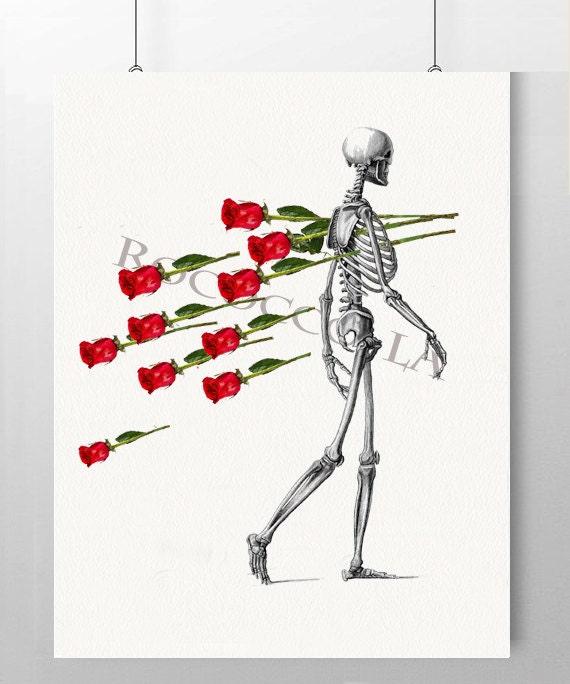 Отпуск, картинки скелеты красивые с розой