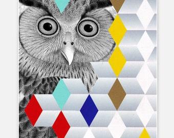 Mixed media Decorative art Animal painting drawing illustration portrait  print POSTER 8x10HELLO - Owl Portrait