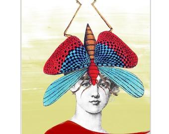 "Summertime - Girl with Grasshopper - Original  ART Print 8"" x 10"""