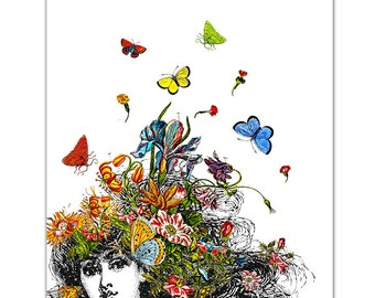 """Girl with Buterflies and Flowers - ART Print 8"""" x 10"""""""
