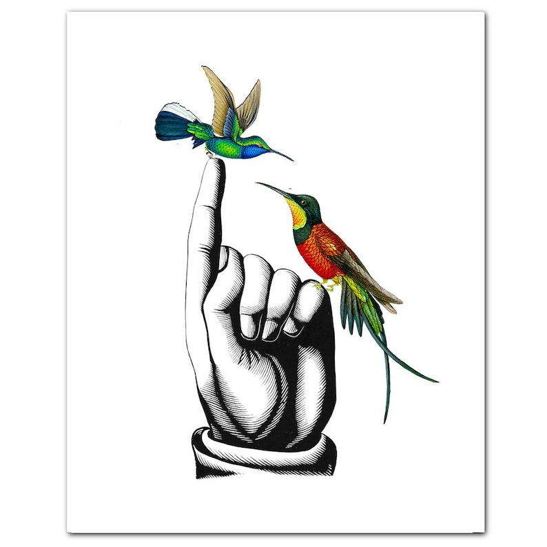 HUMMINGBIRDS on Hand  ART Print 8 x 10 image 0