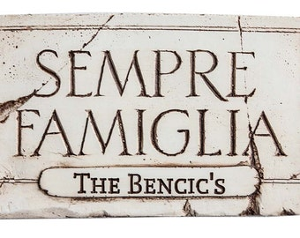 Sempre Famiglia Family Forever Personalized Sign