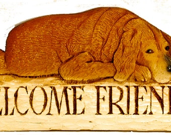 Dog Welcome Friends sign