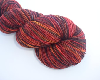 Hand Dyed Sock Yarn - 100% Super Wash Merino - colorway Girl on Fire - Hunger Games Inspired