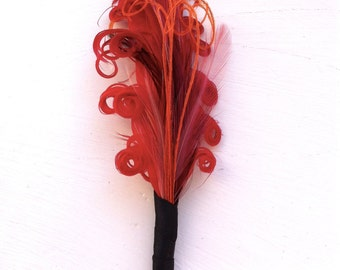ETHAN Red, Rose, Maroon, and Orange Feather Boutonniere